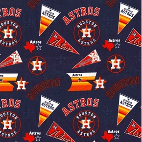 Picture of MLB Baseball Houston Astros Pennants and Logos 2017 Cotton Fabric