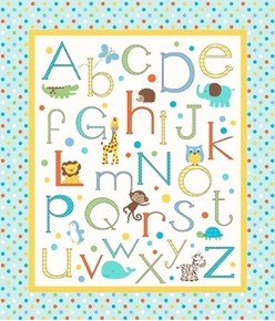 Picture of Alphabet Zoo Childrens Animal Alphabet Large Cotton Fabric Panel