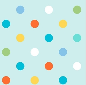 Alphabet Zoo Dots Childrens Colorful Polka Dot Blue Cotton Fabric