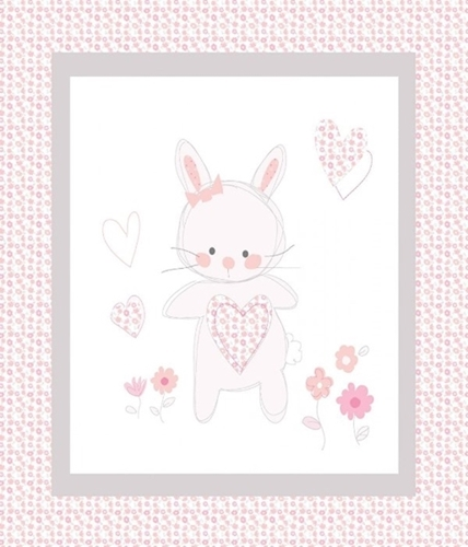 Bunny Love Cute Pink Bunny and Hearts Large Cotton Fabric Panel
