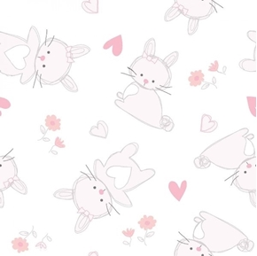 Bunny Love Tossed Bunnies Pink Hearts and Flowers Cotton Fabric