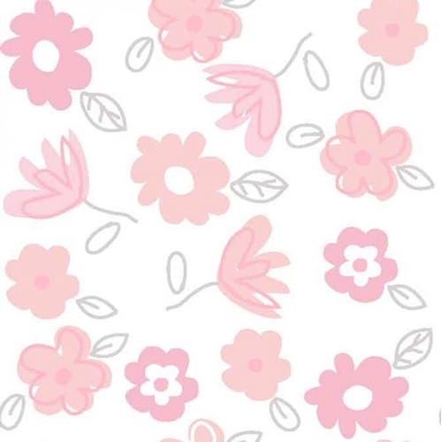Bunny Love Tossed Flowers Pretty Pink Flower Cotton Fabric
