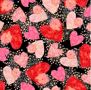 All My Love Hearts and Confetti Valentine Heart Black Cotton Fabric