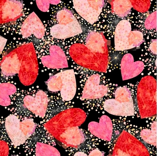 Picture of All My Love Hearts and Confetti Valentine Heart Black Cotton Fabric