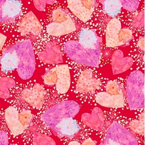 Picture of All My Love Hearts and Confetti Valentine Heart Red Cotton Fabric