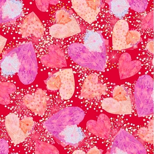 All My Love Hearts and Confetti Valentine Heart Red Cotton Fabric