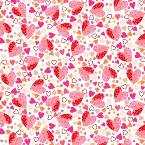 Picture of All My Love Packed Hearts Red Pink Heart Valentine White Cotton Fabric