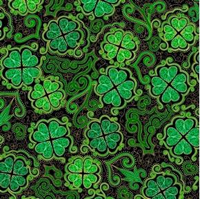 Lucky Clovers Decorative Shamrock St Patricks Day Black Cotton Fabric