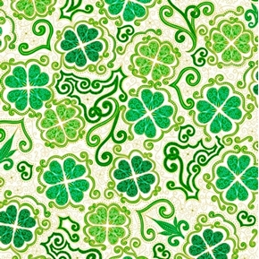 Lucky Clovers Decorative Shamrock St Patricks Day White Cotton Fabric