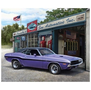 Dodge Challenger 1970 Purple Muscle Car Large Cotton Fabric Panel