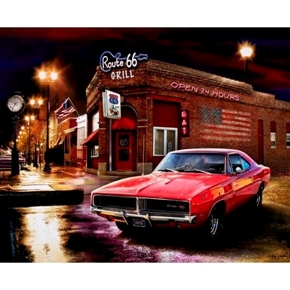 Dodge Charger Rt 66 Grill Muscle Car Large Cotton Fabric Panel