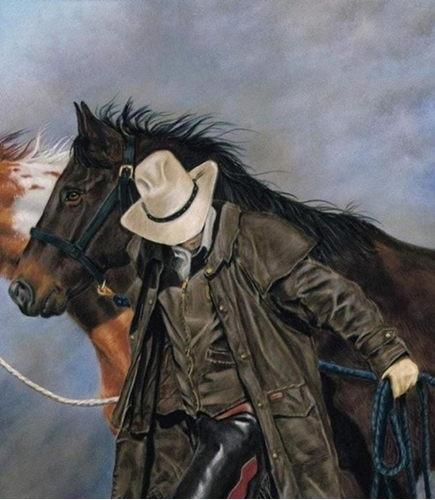Horsin Around Heading Cowboy Leading Horses Cotton Fabric Panel