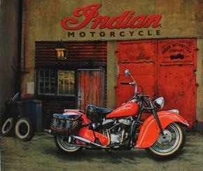 Indian Motorcycle Classic 1947 Red Cycle Garage Cotton Fabric Panel