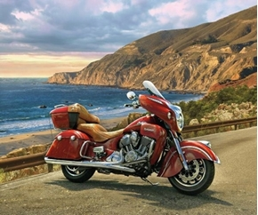 Picture of Indian Motorcycle Classic Red Roadmaster Beach Cotton Fabric Panel
