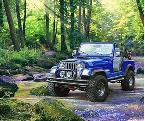 Jeep in the Wild Blue Renegade in the Woods Cotton Fabric Panel
