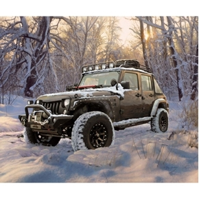Jeep in the Wild Brown Jamboree Snow in Woods Cotton Fabric Panel