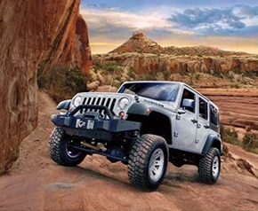 Jeep in the Wild Silver Rubicon in the Canyon Cotton Fabric Panel