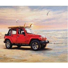 Picture of Jeep in the Wild Red Wrangler Unlimited Beach Cotton Fabric Panel