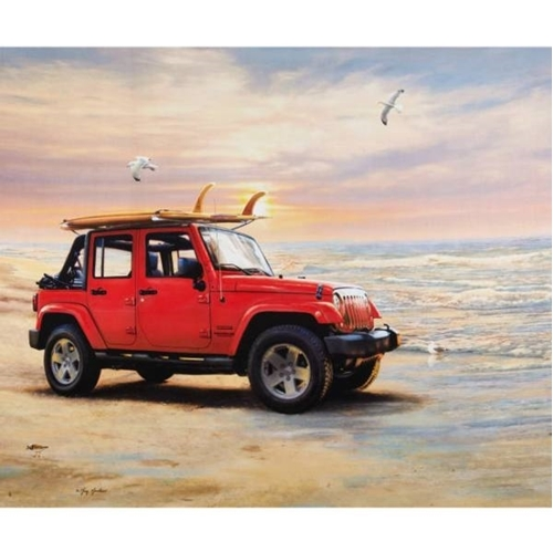 Jeep in the Wild Red Wrangler Unlimited Beach Cotton Fabric Panel