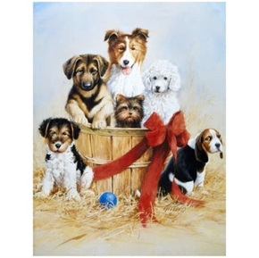 Wild and Playful Puppies Puppy Dog Dogs in Baskets Cotton Fabric Panel