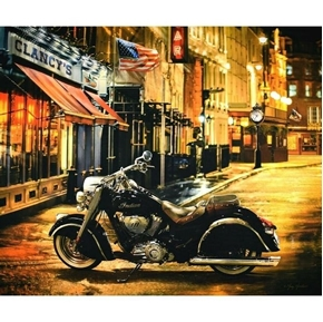 Indian Motorcycle Classic Black Cycle in Town Cotton Fabric Panel