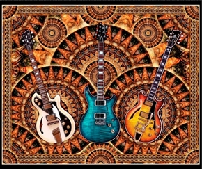 Good Vibrations Guitar Rock & Roll Music Large Cotton Fabric Panel