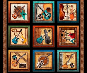 Picture of Good Vibrations Guitar Patches Rock & Roll Black Cotton Fabric Panel
