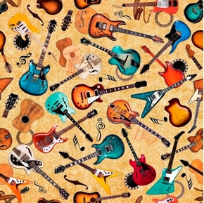 Picture of Good Vibrations Guitar Toss Rock Music Guitars Cream Cotton Fabric