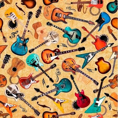 Picture of Good Vibrations Guitar Toss Rock Music Guitars Cream Cotton Fabric