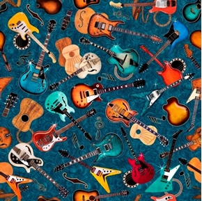 Picture of Good Vibrations Guitar Toss Rock Music Guitars Teal Cotton Fabric