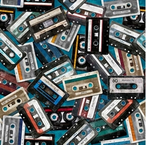 Picture of Good Vibrations Cassettes Music Recording Tapes Teal Cotton Fabric