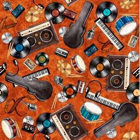 Good Vibrations Rock & Roll Toss Vinyl Recods Music Rust Cotton Fabric