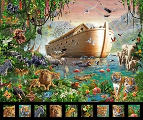 Artworks XIV Noahs Ark Colorful Animal Menagerie Digital Fabric Panel