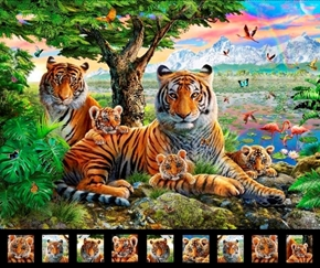 Artworks XIV Jungle Family Bengal Tiger Mother Cubs Fabric Panel
