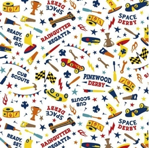 Cub Scouts Pinewood Derby Space Derby Racing White Cotton Fabric