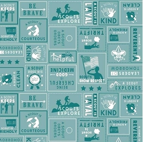 A Scout is Brave Courteous Kind Boy Scouts Squares Teal Cotton Fabric