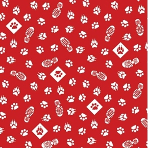 Cub Scouts Animal Paws Tracks Scouting Red Cotton Fabric