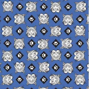 Picture of Cub Scouts Bobcats Bobcat Heads Scouting Scout Blue Cotton Fabric