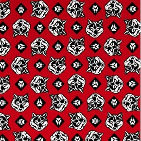 Cub Scouts Wolf Heads Wolves Scouting Scout Red Cotton Fabric