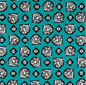 Cub Scouts Bear Heads Bears Scouting Scout Teal Cotton Fabric