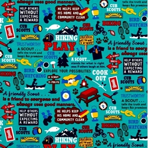 Cub Scouts Words and Activities Camping Hiking Teal Cotton Fabric