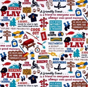 Cub Scouts Words and Activities Camping Hiking White Cotton Fabric