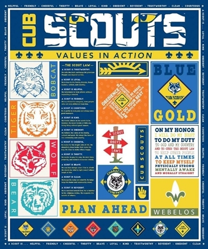 Cub Scouts Values in Action Scout Laws Large Cotton Fabric Panel