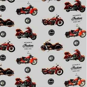 Indian Motorcycle Bikes Authentic Motorcycles on Gray Cotton Fabric