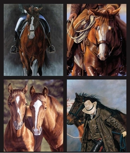 Horsin Around Cowboy Horse Horses Cotton Fabric Pillow Panel Set