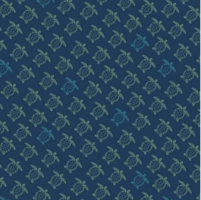 Picture of Offshore 2 Turtle Silhouettes Tiny Turtles on Navy Blue Cotton Fabric