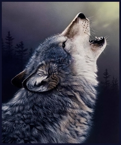 One of a Kind Call of the Wild Wolf Howling Large Cotton Fabric Panel