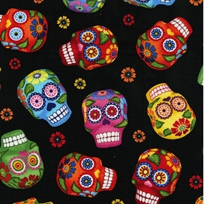 Sugar Skull Colorful Smiling Skulls and Flowers on Black Cotton Fabric