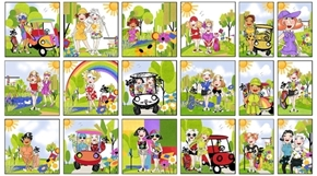 Golf Happy Golfer Girls Blocks Loralie 24x44 Cotton Fabric Panel
