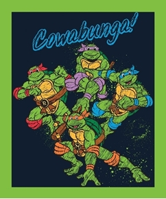 TMNT Cowabunga Teenage Ninja Mutant Turtle Large Cotton Fabric Panel